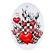 Race Fashion.com Hearts in Flames Oval Ornament