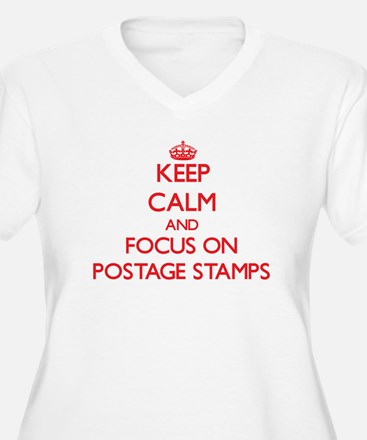 Keep Calm and focus on Postage Stamps Plus Size T-