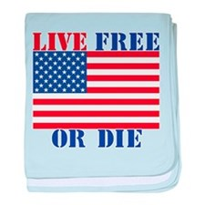 Cute Live free or die baby blanket