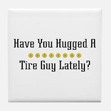 Hugged Tire Guy Tile Coaster