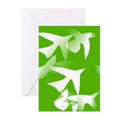 Green Birds Greeting Cards (Pk of 10)