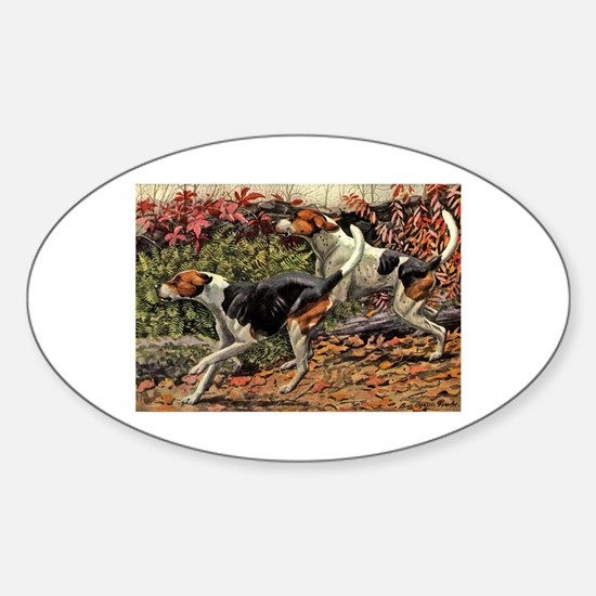 American Foxhound Art Oval Decal