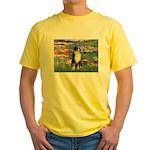 Lilies2-Tri Aussie Shep2 Yellow T-Shirt