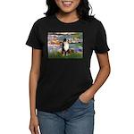 Lilies2-Tri Aussie Shep2 Women's Dark T-Shirt