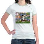 Lilies2-Tri Aussie Shep2 Jr. Ringer T-Shirt