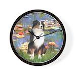 Lilies2-Tri Aussie Shep2 Wall Clock