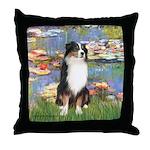 Lilies2-Tri Aussie Shep2 Throw Pillow