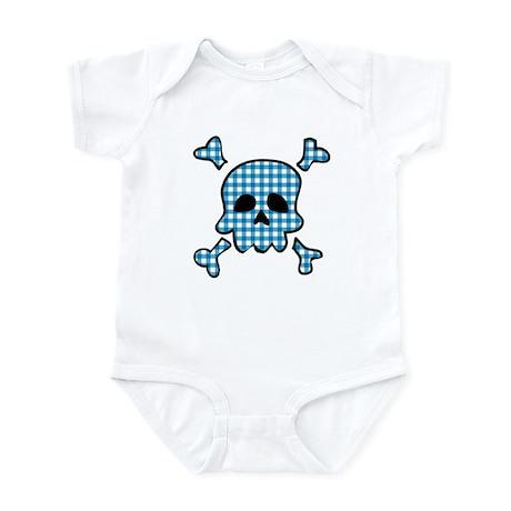 Blue gingham gothic skull Infant Bodysuit