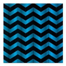 "Deep Blue Chevron Square Car Magnet 3"" x 3"""