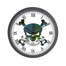 MacWilliam Tartan Skull Wall Clock