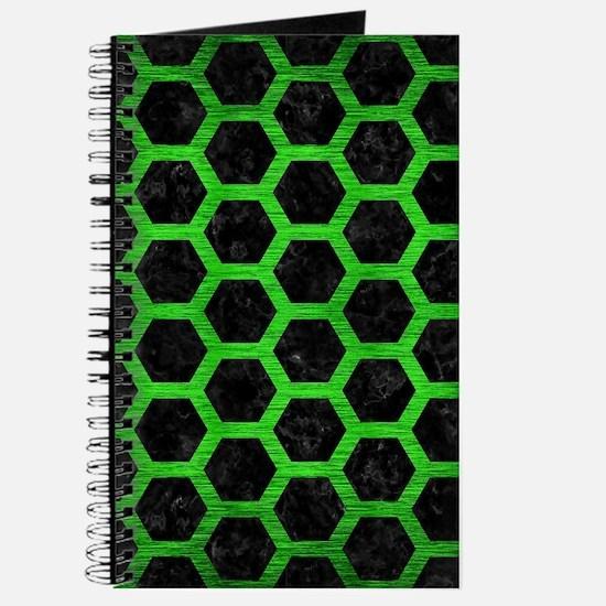 HEXAGON2 BLACK MARBLE & GREEN BRUSHED META Journal