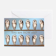 How old? Curious owls birthday card. Greeting Card