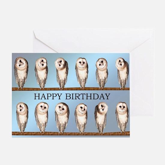 Curious owls birthday card. Greeting Cards