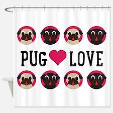 Pugnacious Gifts: Pug Love Shower Curtain