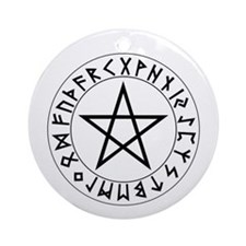 Pentacle Rune Shield Ornament (Round)