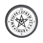 Pentacle Rune Shield Wall Clock