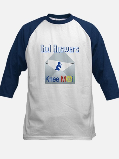 God Answers Knee Mail Baseball Jersey