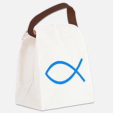 Teal Christian Fish Ichthys Canvas Lunch Bag