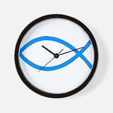 Teal Christian Fish Ichthys Wall Clock