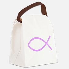 Lavender Christian Fish Ichthys Canvas Lunch Bag
