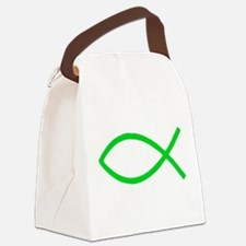 Green Christian Fish Ichthys Canvas Lunch Bag