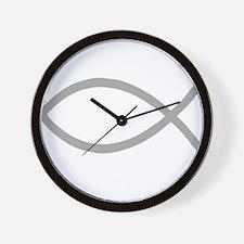 Gray Christian Fish Ichthys Wall Clock