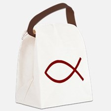 Christian Fish Ichthys dark red Canvas Lunch Bag
