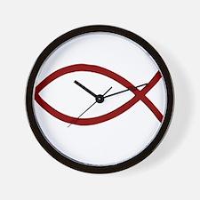 Christian Fish Ichthys dark red Wall Clock