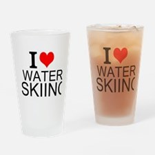 I Love Water Skiing Drinking Glass
