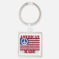 American Made Square Keychain