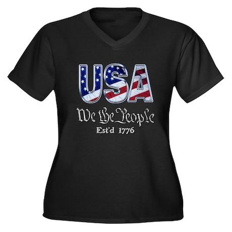 USA Women's Plus Size V-Neck Dark T-Shirt