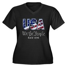 USA Women's Plus Size V-Neck Dark T-Shirt