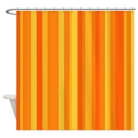 Orange Yellow Stripes Shower Curtain By Yneami