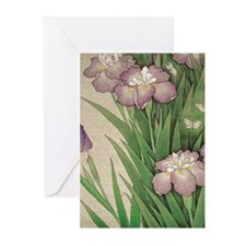 romantic vintage iris flower garden Greeting Cards