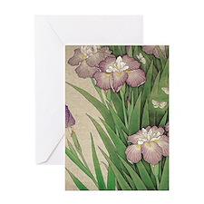 romantic vintage iris flower garden Greeting Cards