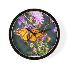 Monarch Butterfly on Purple Milkweed Wall Clock