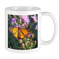 Monarch Butterfly on Purple Milkweed Mugs