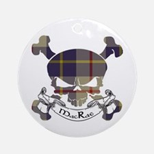 MacRae Tartan Skull Ornament (Round)