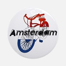 Amsterdam Bicycle Ornament (Round)