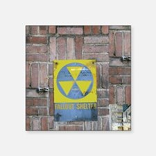 "Fallout Shelter Sign Square Sticker 3"" x 3"""