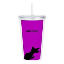 Michael Purple Dino Acrylic Double-Wall Tumbler