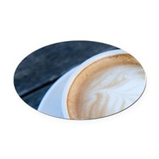 Latte Coffee with Fern Frond Patte Oval Car Magnet