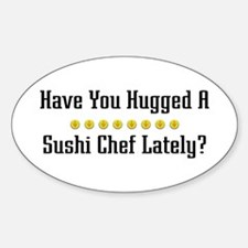 Hugged Sushi Chef Oval Decal