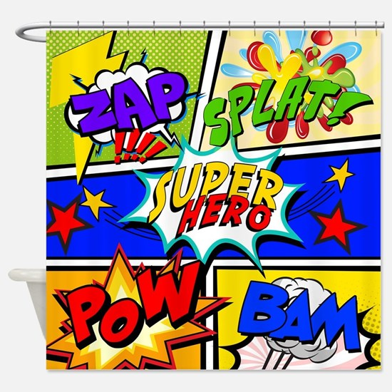 Superhero Comic Book Shower Curtain