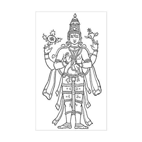 Vishnu - Hindu Diety Rectangle Sticker