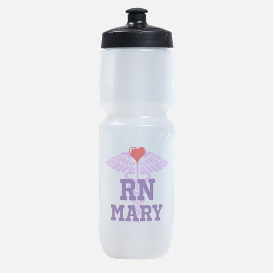 RN Pink Caduceus with purple letters Sports Bottle