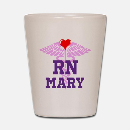 RN Pink Caduceus with purple letters Shot Glass