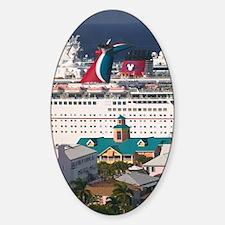 Nassau: City View & Cruiseships fro Sticker (Oval)