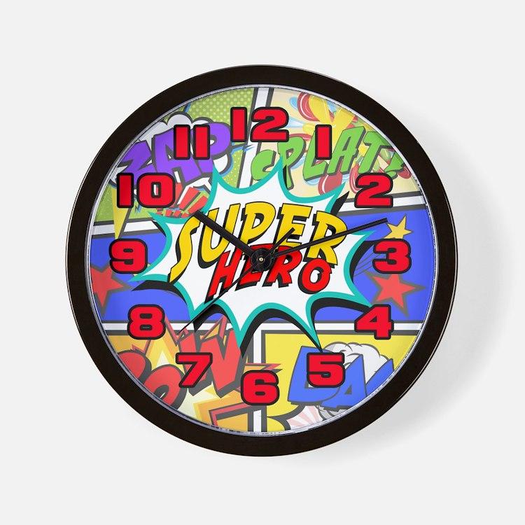 Superhero Comic Book Wall Clock