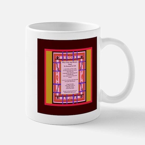 Curvy Plaid Wisdom To Succeed In Life square Mugs